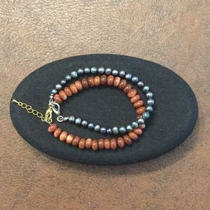 "Jewelry - 2 handcrafted bracelets, 1 goldstone and 1 ""pearl"""